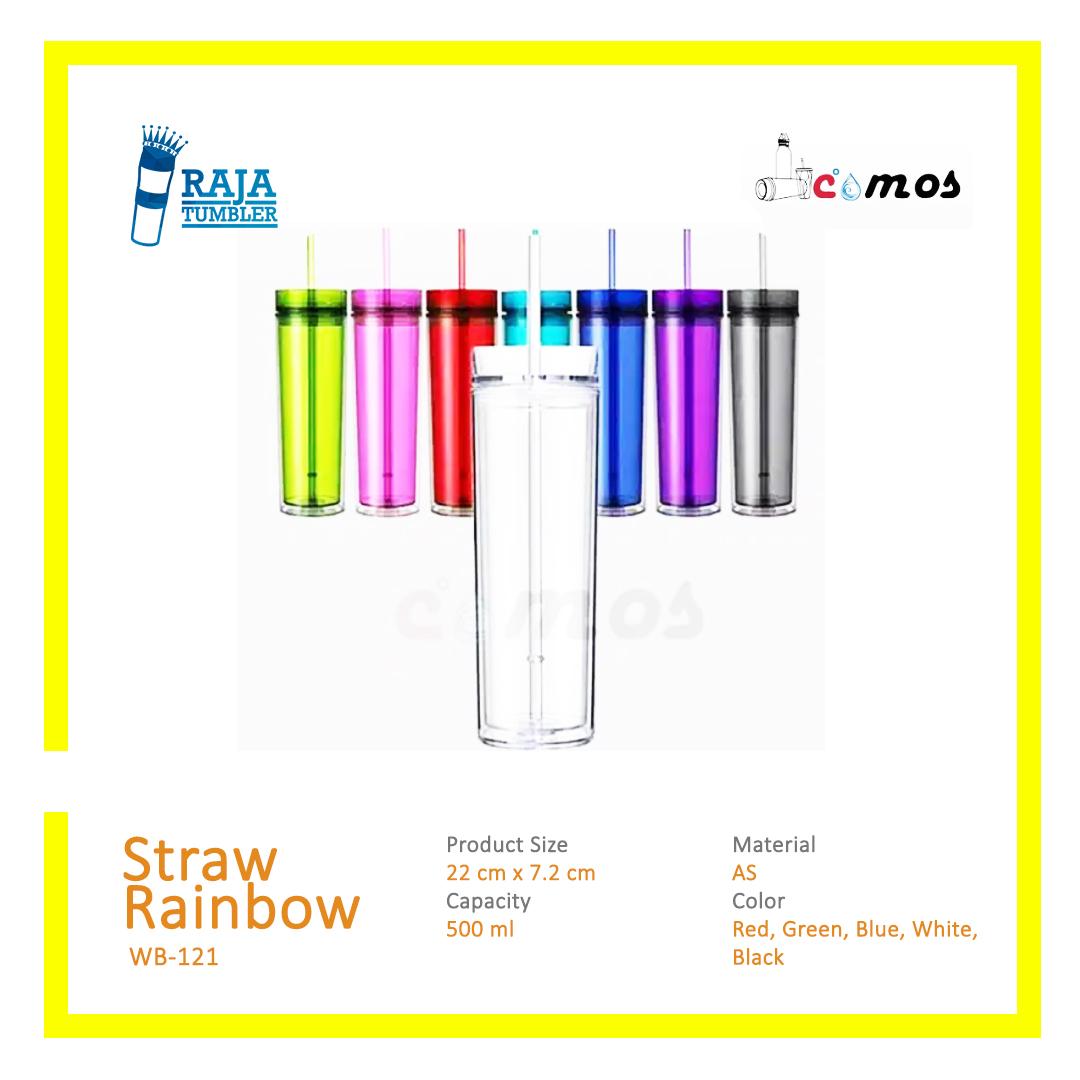 Supplier-Botol-Minum-Plastik-MurahDengan-Sedotan-Straw-Rainbow-Comos---Raja-Tumbler