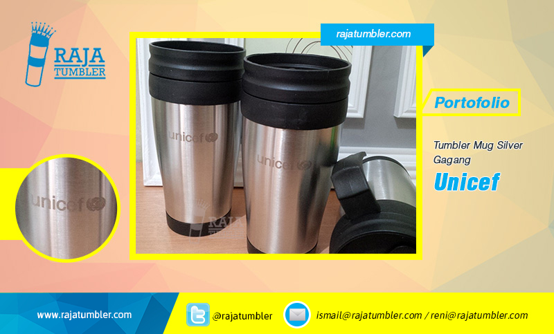 Tempat-Bikin-Mug,-Mug-Stainless-Murah,-Mug-Souvenir,-Mug-Promosi,-Mug-Silver-Gagang-Unicef, botol minum alumunium murah, tempat minum keren, pusat tumbler murah